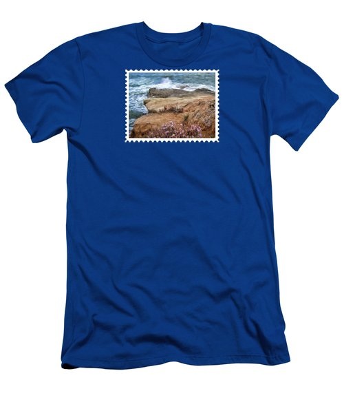 Rocks And Plants In The Central California Surf Oil Painting Men's T-Shirt (Athletic Fit)