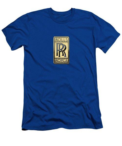 Rolls Royce - 3d Badge On Blue Men's T-Shirt (Slim Fit) by Serge Averbukh