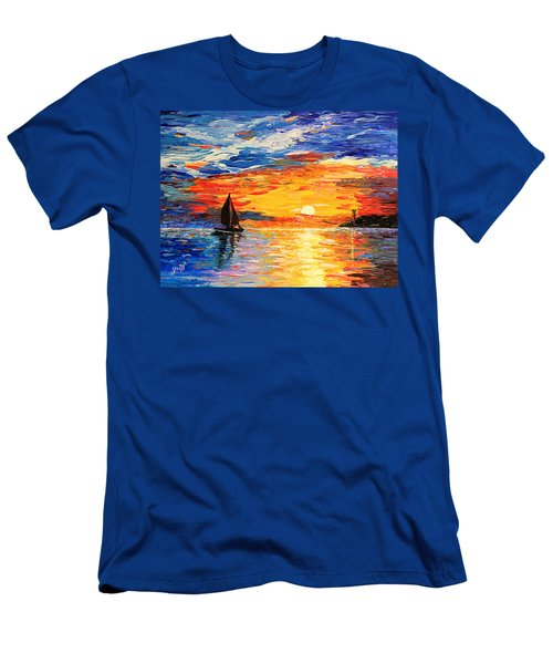 Men's T-Shirt (Athletic Fit) featuring the painting Romantic Sea Sunset by Georgeta  Blanaru