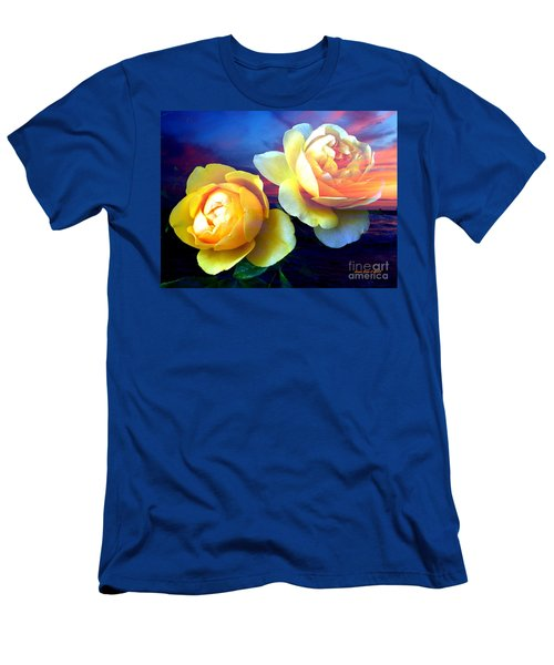 Roses Basking In A Ocean Sunset Men's T-Shirt (Slim Fit) by Annie Zeno