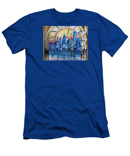 Rush Hour In New York  Men's T-Shirt (Slim Fit) by Geni Gorani