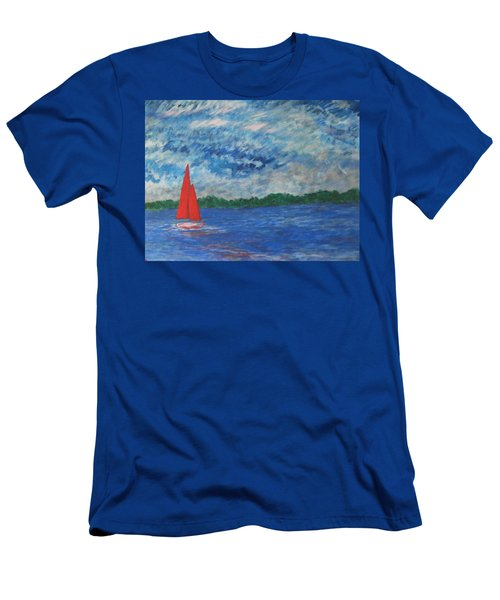 Men's T-Shirt (Slim Fit) featuring the painting Sailing The Wind by John Scates