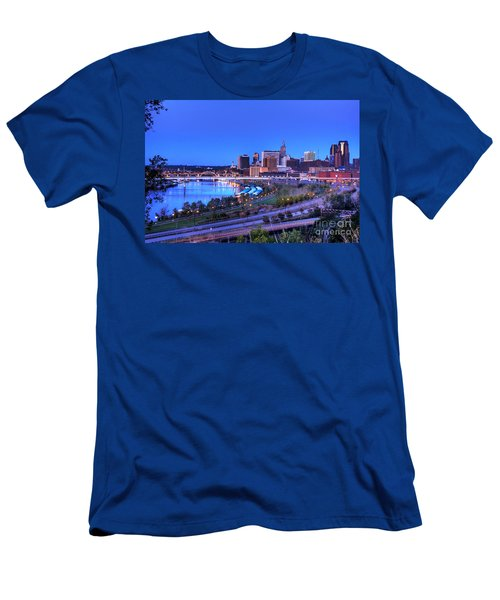 Saint Paul Minnesota Skyline Blue Morning Light Men's T-Shirt (Athletic Fit)