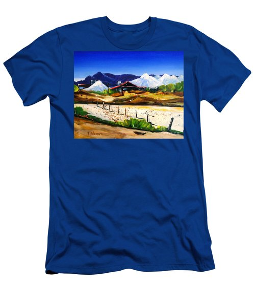 Men's T-Shirt (Slim Fit) featuring the painting Salt Works - Port Alma by Therese Alcorn