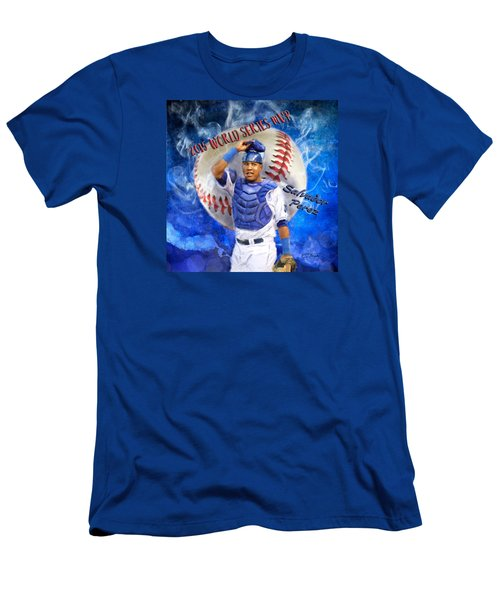 Salvador Perez 2015 World Series Mvp Men's T-Shirt (Slim Fit) by Colleen Taylor