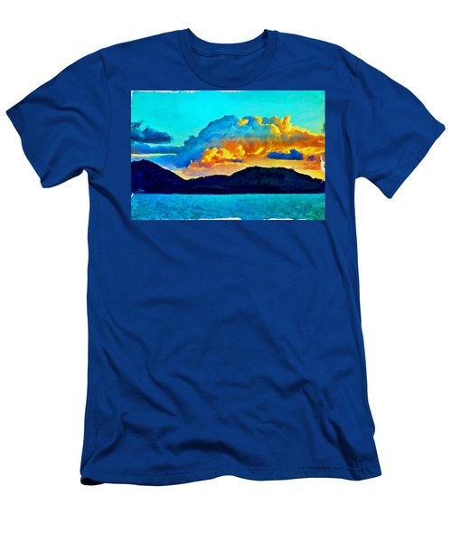 Men's T-Shirt (Athletic Fit) featuring the painting San Juan Seascape by Joan Reese