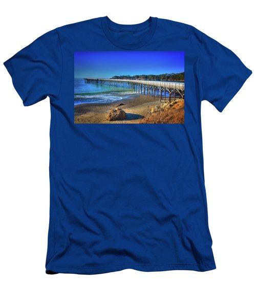 San Simeon Pier California Coast Men's T-Shirt (Slim Fit) by James Hammond