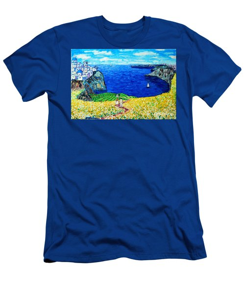 Santorini Honeymoon Men's T-Shirt (Slim Fit) by Ana Maria Edulescu