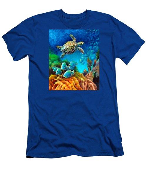 Sea Escape IIi - Gemstone Hawksbill Turtle Men's T-Shirt (Slim Fit) by Nancy Tilles