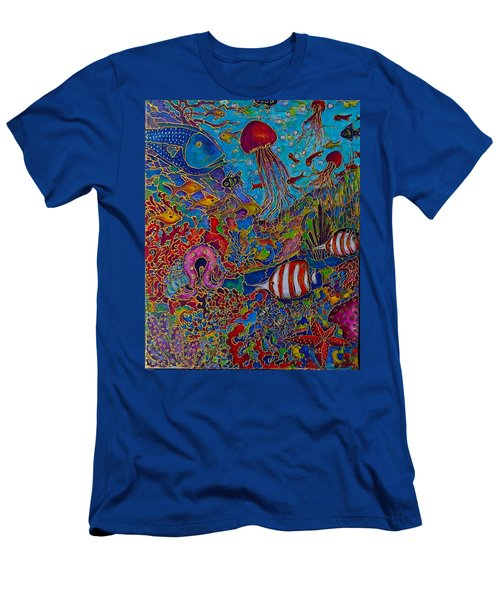 Men's T-Shirt (Slim Fit) featuring the painting Sea World by Rae Chichilnitsky