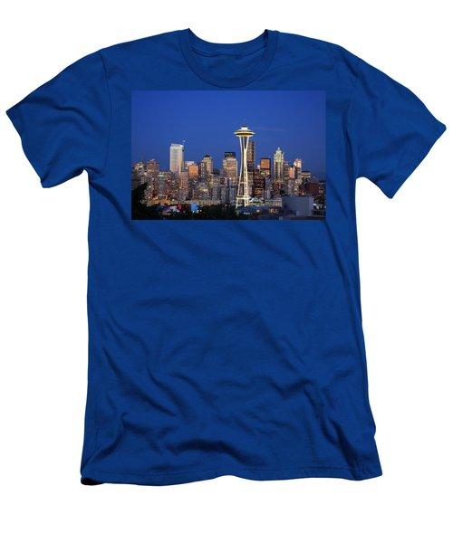 Seattle At Dusk Men's T-Shirt (Slim Fit) by Adam Romanowicz
