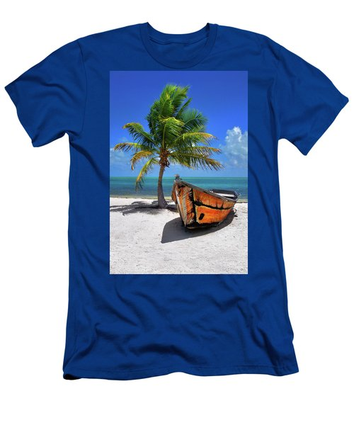 Small Boat And Palm Tree On White Sandy Beach In The Florida Keys Men's T-Shirt (Athletic Fit)