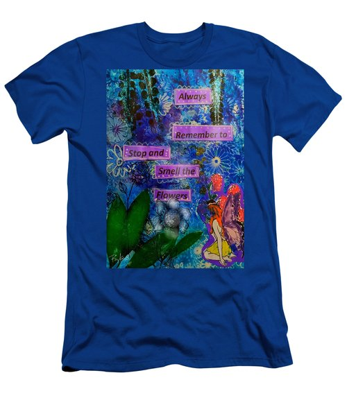 Men's T-Shirt (Slim Fit) featuring the mixed media Smell The Flowers...... by Diana Riukas