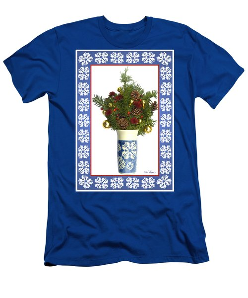 Men's T-Shirt (Slim Fit) featuring the digital art Snowflake Vase With Christmas Regalia by Lise Winne