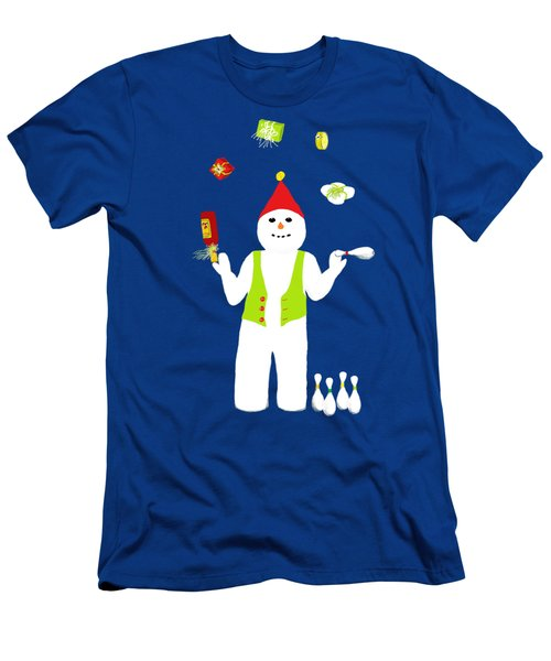 Snowman Juggler Men's T-Shirt (Slim Fit) by Barbara Moignard