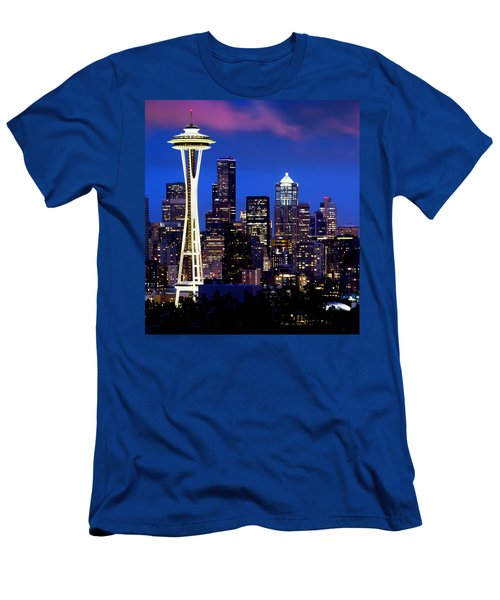 Space Needle At Night  Men's T-Shirt (Athletic Fit)