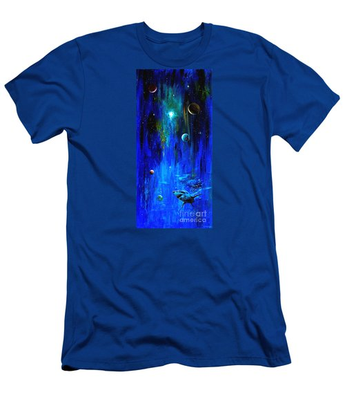 Men's T-Shirt (Slim Fit) featuring the painting Space Shark by Arturas Slapsys