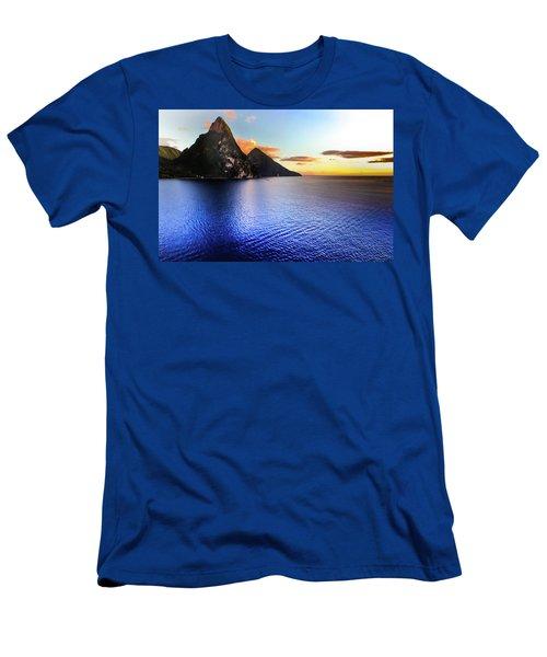 St. Lucia's Cobalt Blues Men's T-Shirt (Slim Fit) by Karen Wiles