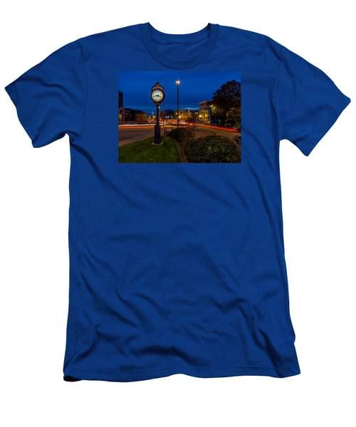 Stadium Clock During The Blue Hour Men's T-Shirt (Slim Fit) by Rob Green