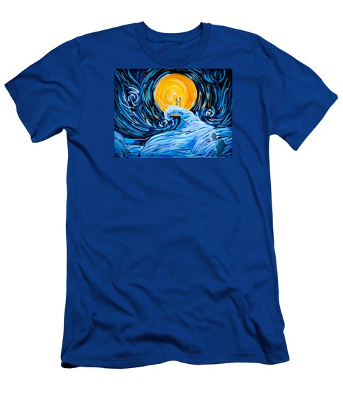 Starry Spiral Hill Night Men's T-Shirt (Slim Fit) by Marisela Mungia