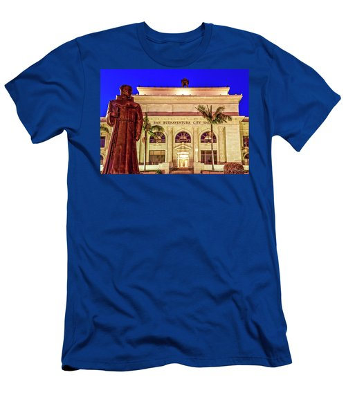 Men's T-Shirt (Slim Fit) featuring the photograph Statue Of Saint Junipero Serra In Front Of San Buenaventura City Hall by John A Rodriguez