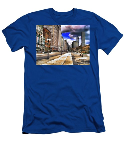 Men's T-Shirt (Athletic Fit) featuring the digital art Streets Of Chicago by Kathy Tarochione