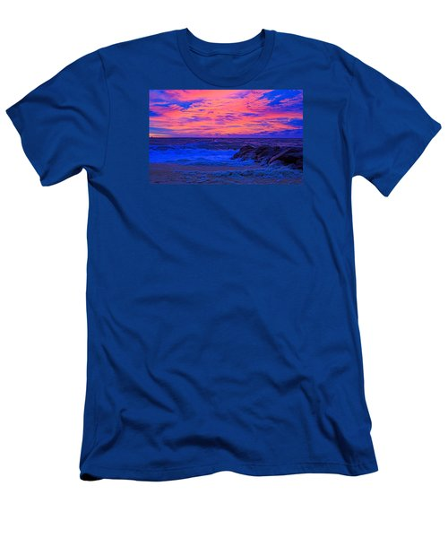 Sun Rays Painted Sky Men's T-Shirt (Slim Fit) by Allan Levin