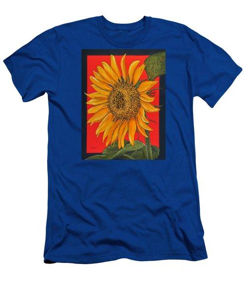 Da153 Sunflower On Red By Daniel Adams Men's T-Shirt (Athletic Fit)