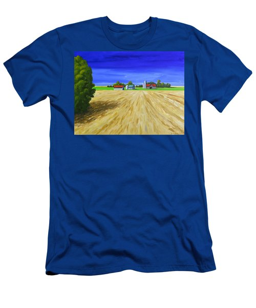 Men's T-Shirt (Slim Fit) featuring the painting Sunny Fields by Jo Appleby