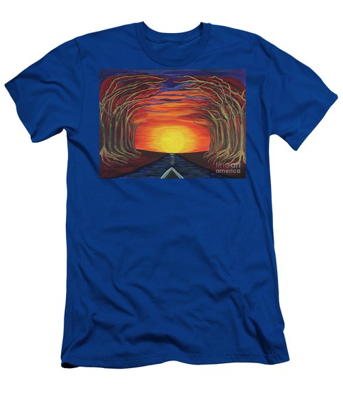 Treetop Sunset River Sail Men's T-Shirt (Athletic Fit)
