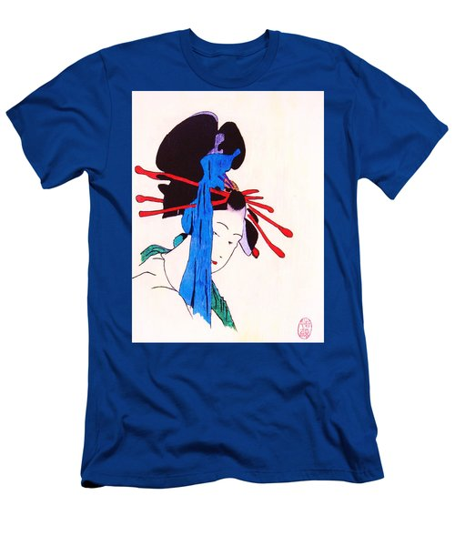Men's T-Shirt (Slim Fit) featuring the painting Sutekina Geisha Ni by Roberto Prusso