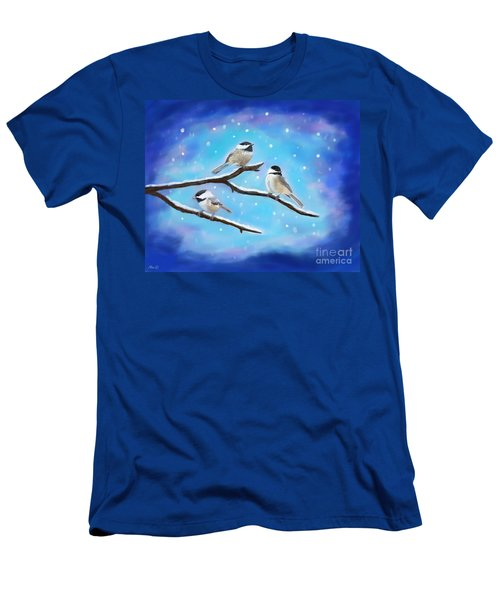 Men's T-Shirt (Athletic Fit) featuring the painting Sweetest Winter Birdies by Leslie Allen