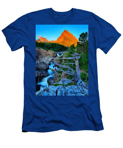 Swiftcurrent Falls Men's T-Shirt (Slim Fit) by Greg Norrell
