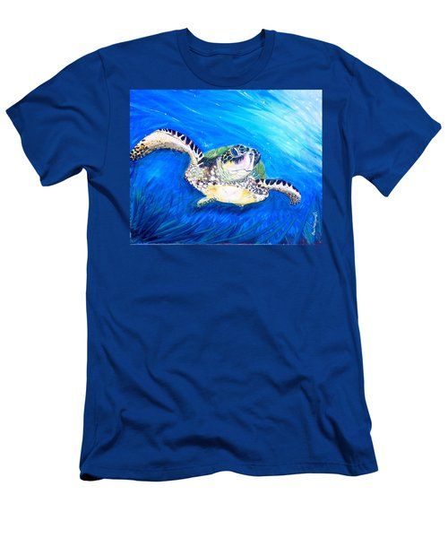 Men's T-Shirt (Slim Fit) featuring the painting Swim by Dawn Harrell