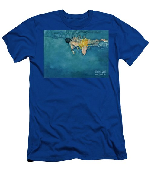 Swimmer In Yellow Men's T-Shirt (Athletic Fit)