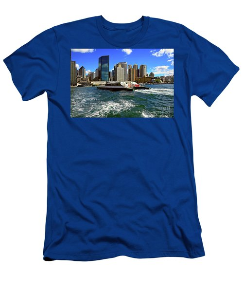 Sydney Skyline From Harbor By Kaye Menner Men's T-Shirt (Slim Fit) by Kaye Menner