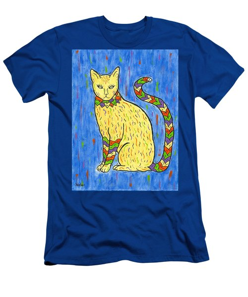 Men's T-Shirt (Slim Fit) featuring the painting Tabby Kat by Susie WEBER