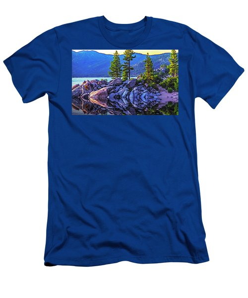 Tahoe Water Reflections Men's T-Shirt (Slim Fit) by Nancy Marie Ricketts