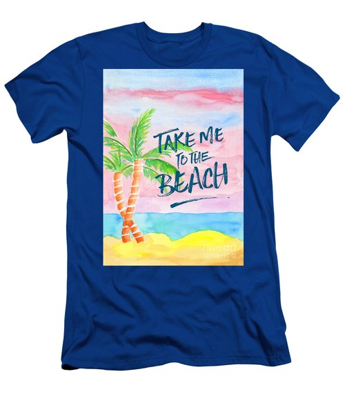Take Me To The Beach Palm Trees Watercolor Painting Men's T-Shirt (Athletic Fit)