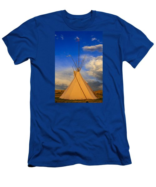 Tepee At Sunset In Montana Men's T-Shirt (Slim Fit) by Chris Smith