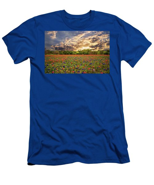 Texas Wildflowers Under Sunset Skies Men's T-Shirt (Athletic Fit)