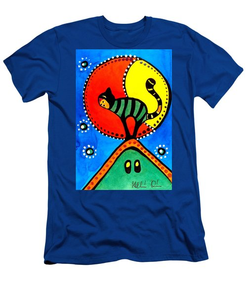 The Cat And The Moon - Cat Art By Dora Hathazi Mendes Men's T-Shirt (Slim Fit)