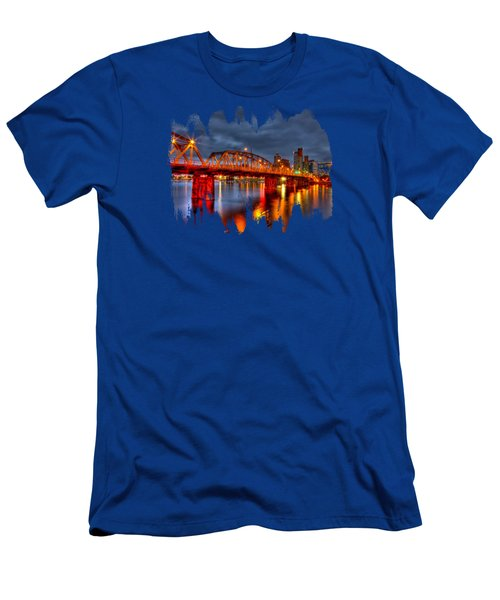 Men's T-Shirt (Slim Fit) featuring the photograph The Hawthorne Bridge - Pdx by Thom Zehrfeld