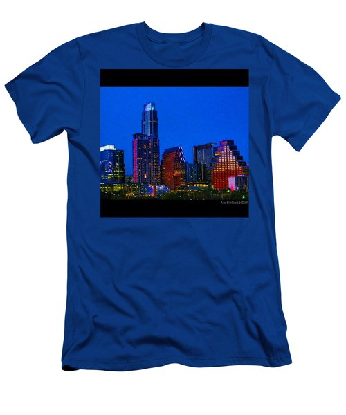 The #instaawesome #austin #skyline On A Men's T-Shirt (Slim Fit) by Austin Tuxedo Cat