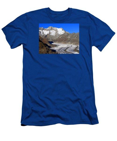 The Large Aletsch Glacier In Switzerland Men's T-Shirt (Slim Fit) by Ernst Dittmar