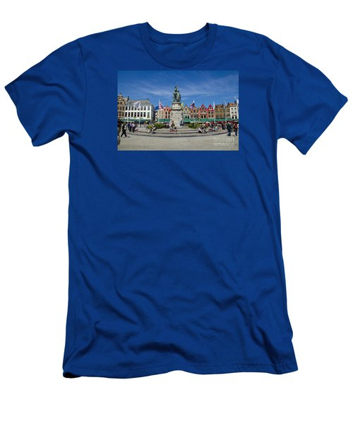 Men's T-Shirt (Slim Fit) featuring the photograph The Markt Of Bruges by Pravine Chester