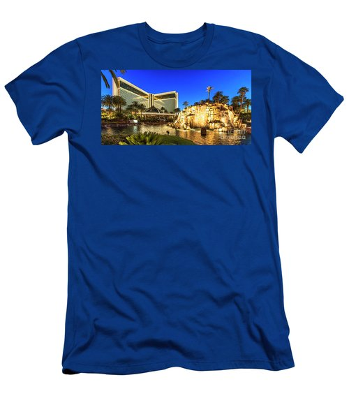 The Mirage Casino And Volcano At Dusk Men's T-Shirt (Slim Fit) by Aloha Art