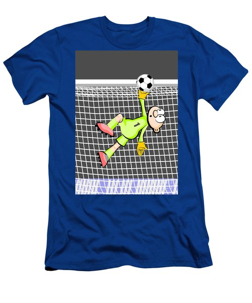 The Soccer Goalkeeper Jumps Stretching The Arm And Raises The Ball Above The Goal Avoiding The Goal Men's T-Shirt (Athletic Fit)