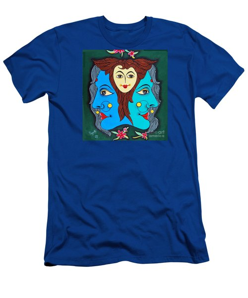 Men's T-Shirt (Slim Fit) featuring the painting Three Faces Of Smiling by Ragunath Venkatraman