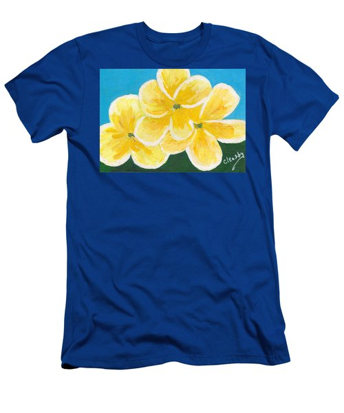 Three Flowers On Blue Men's T-Shirt (Slim Fit) by Patricia Cleasby